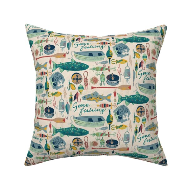 Fishing Boat Fisherman Fish Throw Pillow Cover W Optional Insert By Roostery Walmart Com Walmart Com