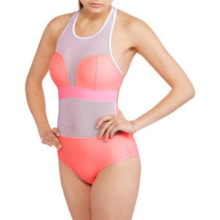 6008076ebd2 ONLINE - Juniors Sporty One-piece Swimsuit With F - Walmart.com