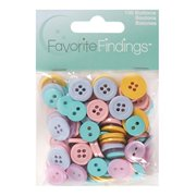 Favorite Findings Basic Buttons Assorted Size Pastel Buttons, 130 Count