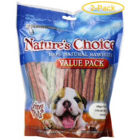 Loving Pets Nature's Choice Rawhide Munchy Stick Value Pack 100 Pack (5 Assorted Munchy Sticks) - Pack of