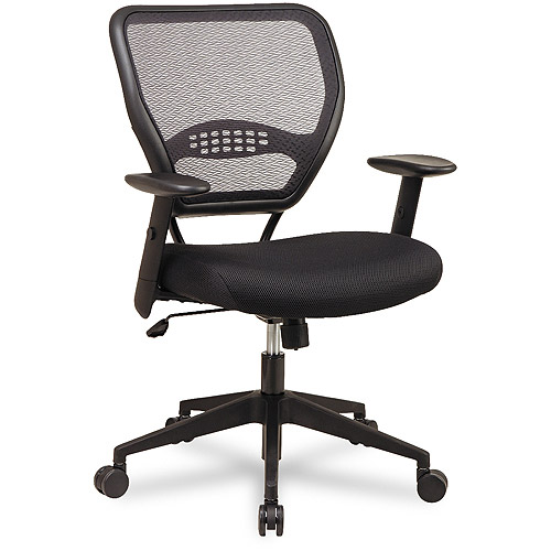 Office Star Space Seating Professional Black AirGrid Office Chair with Mesh Fabric Seat, Black