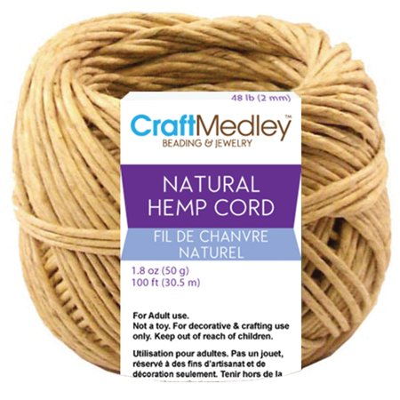 100% Hemp (Craft Medley Hemp Cord, 48 lb., 100 ft.)