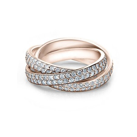 2 3/4ct Rolling Ring Diamond Pave Eternity 14K Rose Gold - Eternity Rolling Ring