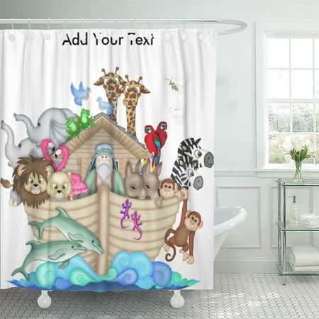 CYNLON Noah Ark Srf Sharonrhea Religion Nursery Youth Baby Bathroom Decor Bath Shower Curtain 60x72 inch