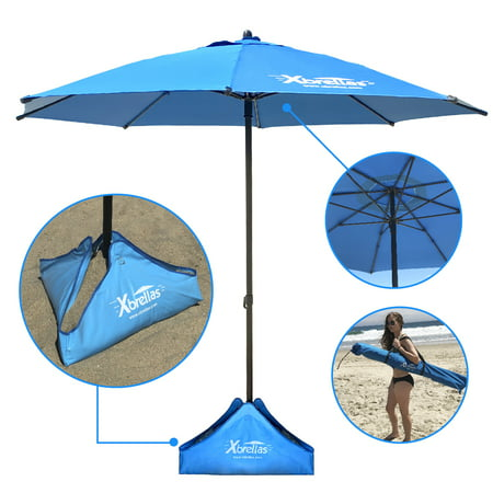 Xbrellas – Best High Wind Resistant Large 7.5' Beach Umbrella. 6 Heavy Duty Sturdy Fiberglass Ribs, Marine Grade Canvas Fabric, Reinforced Vertical Pole, Sand Fill System - PATENT
