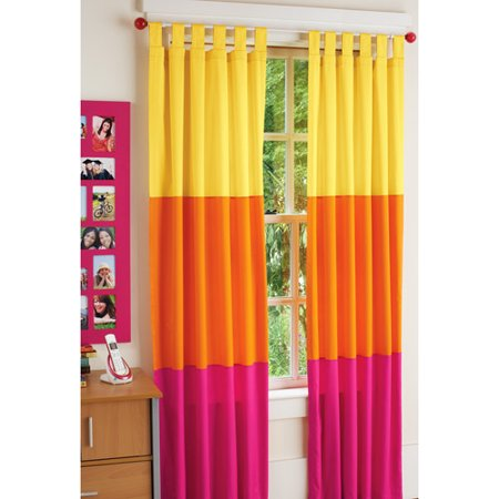 your zone chino bedroom curtains pink orange stripe