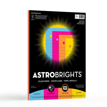 "Astrobrights Wide Ruled Color Filler Paper, 8.5"" x 11"", 20 lb, 4-Color Assortment, 100 Sheets"