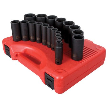Sunex 2641 19-Piece 1/2 in. Drive Deep Well SAE Impact Socket Set