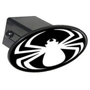 """Spider White On Black, Spiderman 2"""" Oval Tow Trailer Hitch Cover Plug Insert"""