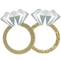 24-Pack Diamond Ring Drink Coasters for Wedding Bachelorette Party Supplies 4 x 5.5 Inches