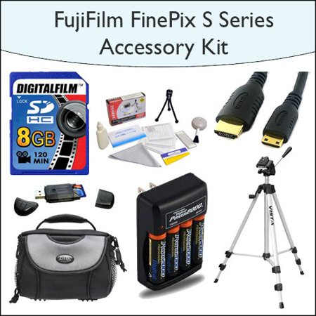 Cheap Offer 8GB Accessory Kit Including 8GB SDHC High Speed Memory Card with Card Reader, Tripod, Deluxe Camera Bag, Mini HDMI Cable, 4x AA Rechargable Batteries, Opteka 5 Piece Lens Cleaning Kit for Fuji FinePix Before Too Late