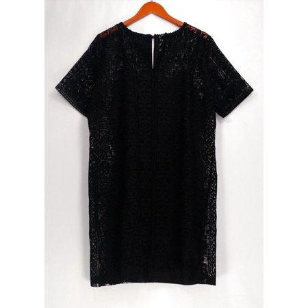 C. Wonder Dress Sz 16 Lace Split Neck Short Sleeve Dress Black A275165