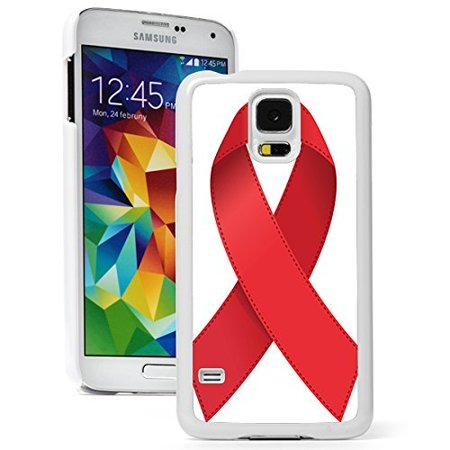 Samsung Galaxy (S5 Mini) Hard Back Case Cover AIDS HIV Red Awareness Ribbon (White) - Hiv Ribbon