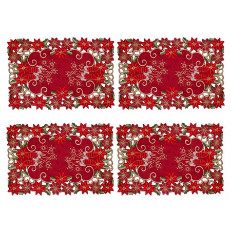 Set of 4 Holiday Collection Red Fabric Table Placemats, 11x17 in, Embroidered Christmas Candles & Poinsettia ()