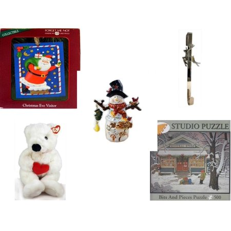 Christmas Fun Gift Bundle [5 Piece] - American Greetings Ornament  Eve Visitor - Silver Reindeer Over The Door Wreath Hanger  - Snowman Tealight Cover - Ty Beanie Buddy