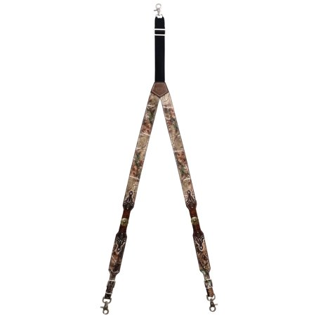 Custom Gold Texas Seal Realtree AP Camo Leather Suspenders (Custom Suspenders)