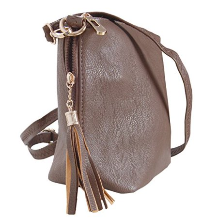 Humble Chic NY - Mini Tassel Cross Body Bag - Small Vegan Leather Zipper  Crossbody Handbag Shoulder Purse b08a68870d512