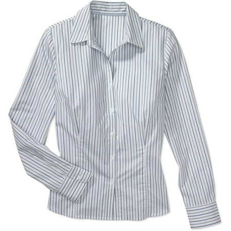 02178ea6 George - George - Women's Plus Long-Sleeve Button-Down Shirt ...