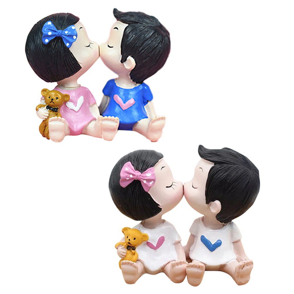 KISS couple doll resin crafts cake DIY ornaments home small ornaments