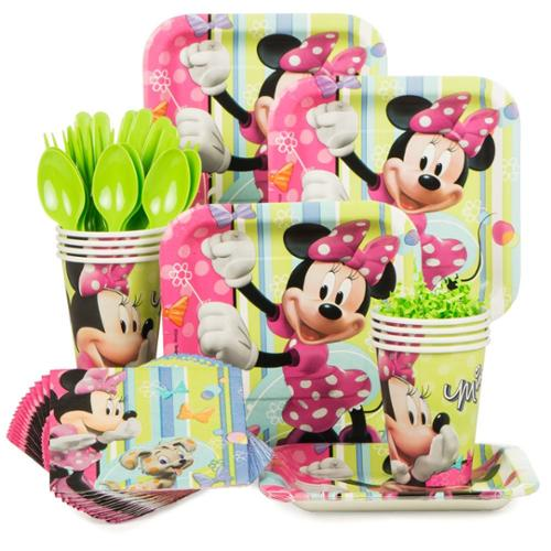 Minnie Mouse Birthday Party Standard Tableware Kit Serves 8 - Party Supplies