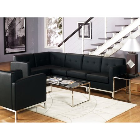 OSP Home Furnishings Wall Street Armchair. Black Faux Leather.