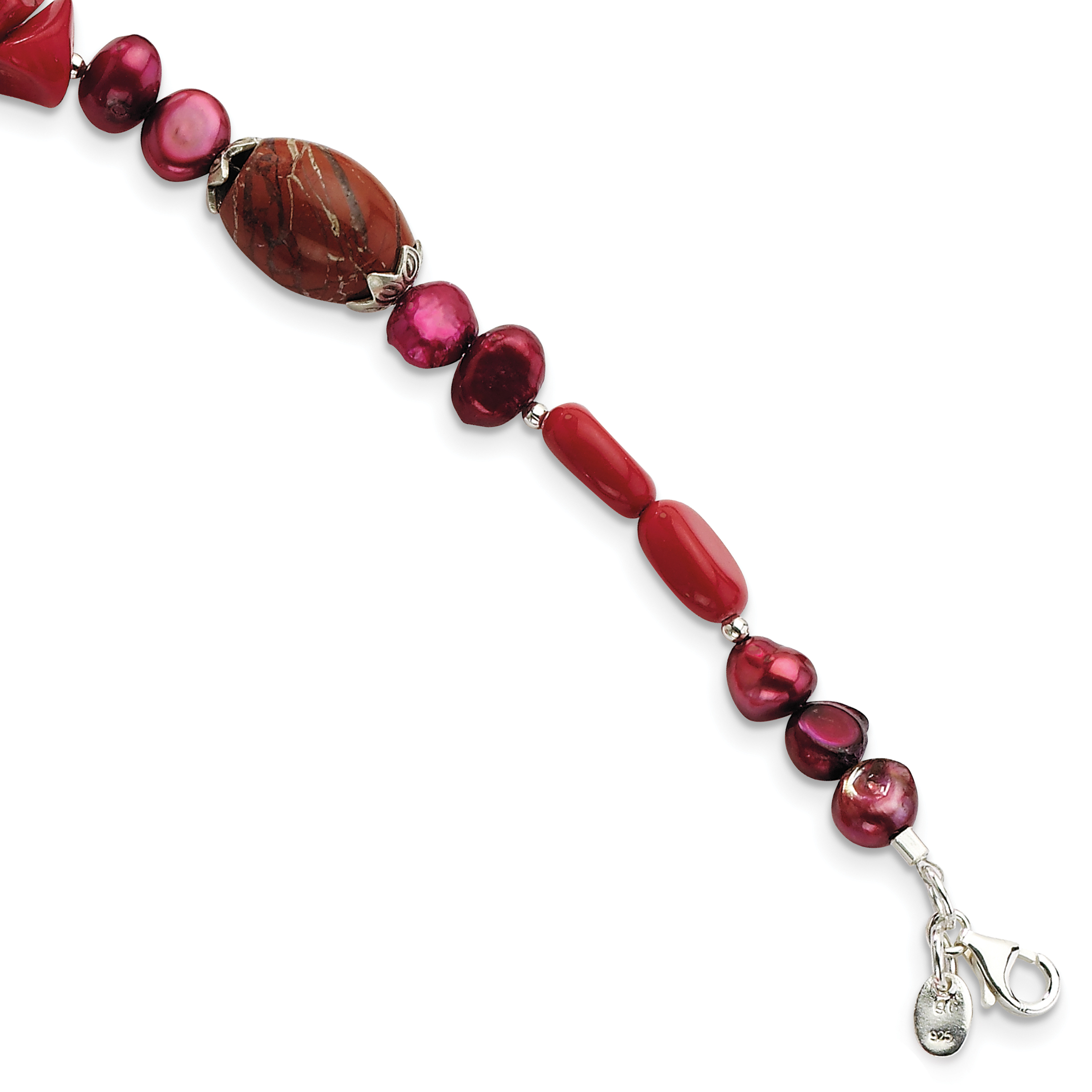 Roy Rose Jewelry Sterling Silver Red Coral, Freshwater Cultured Pearl, Agate, Jasper Bracelet ~ Length 8'' inches by