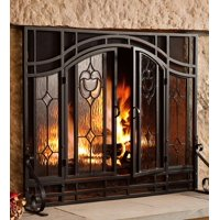 2-Door Floral Fireplace Fire Screen with Beveled Glass Panels, Black