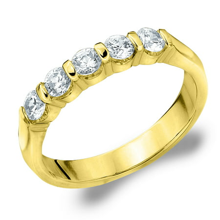 580798a4bcc26 0.50 CTTW 5-Stone Diamond Wedding Band in 14K Yellow Gold, 1/2 CT Diamond  Anniversary Ring