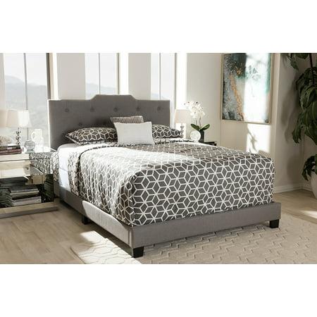 Baxton Studio Brunswick Modern Upholstered Panel Bed King Gray