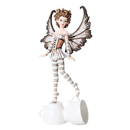 7.25 Inch Espresso Winged Fairy Standing on Cups Statue Figurine ()
