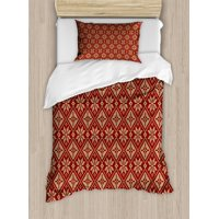 Snowflake Twin Size Duvet Cover Set, Geometric Composition with Herringbone Zigzag Pattern Bicolor Motifs Illustration, Decorative 2 Piece Bedding Set with 1 Pillow Sham, Ruby Beige, by Ambesonne