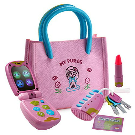 Playkidz My First Purse Pretend Play Set for Girls with Lights and Sound Flip Phone, Key Remote - Be Like Mom - Educational and Fun - Batteries (Toy Cell Phone For 1 Year Old)
