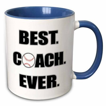3dRose Baseball Best Coach Ever - Two Tone Blue Mug,
