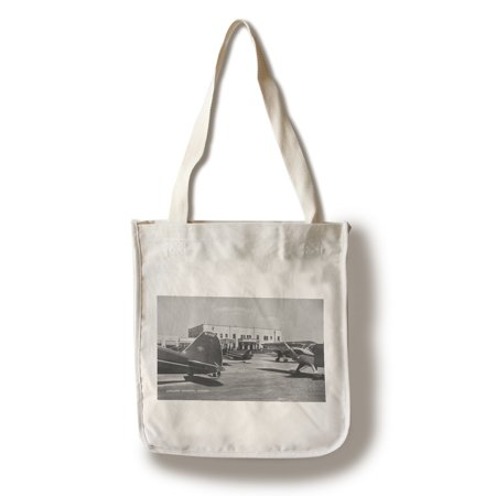 Oakland, California - View of Planes at Municipal Airport (100% Cotton Tote Bag - Reusable)
