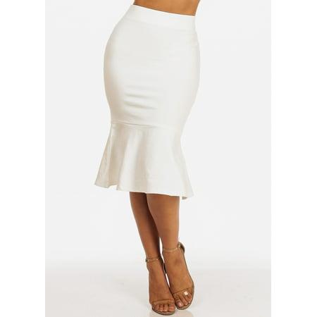 Womens Juniors Office Careerwear Work Wear Solid White Pull On Ruffle Hem Floubce Knee Length Bodycon Midi Skirt 40934U