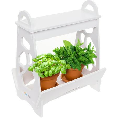 Mini Garden Kit (Mindful Design White LED Indoor At Home Mini Planter Herb Garden Kit w/ Timer )