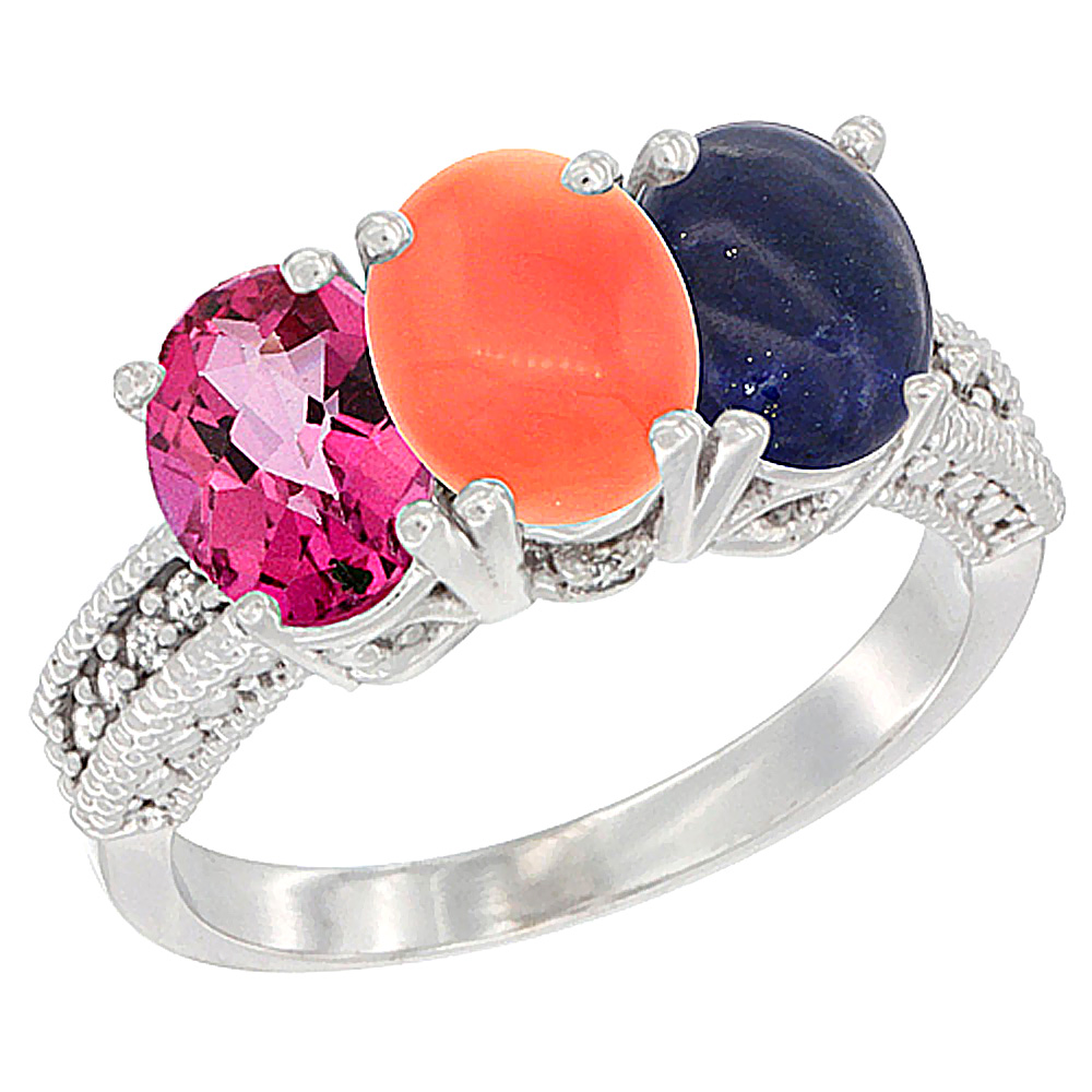 14K White Gold Natural Pink Topaz, Coral & Lapis Ring 3-Stone 7x5 mm Oval Diamond Accent, sizes 5 10 by WorldJewels