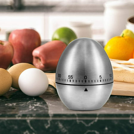 Zoetouch Kitchen Timer Egg Stainless Steel Mechanical Modern Timer Rotating Alarm Clock 60 Minutes No Battery for Cooking