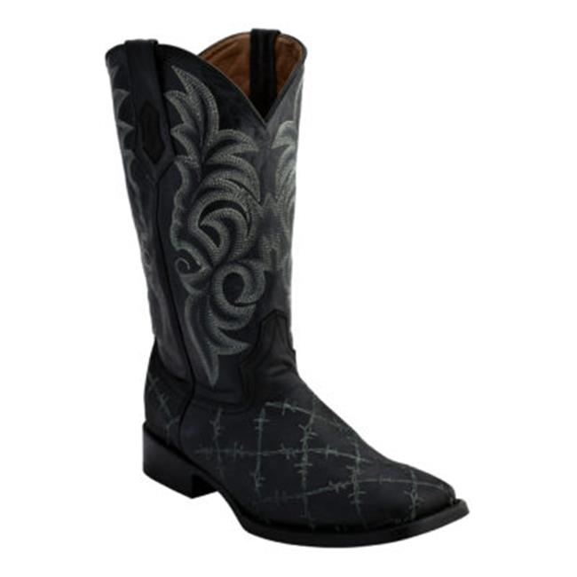 Ferrini 1129304085D Barbed Wire 8.5D S-Toe Boots for Men, Black by Ferrini