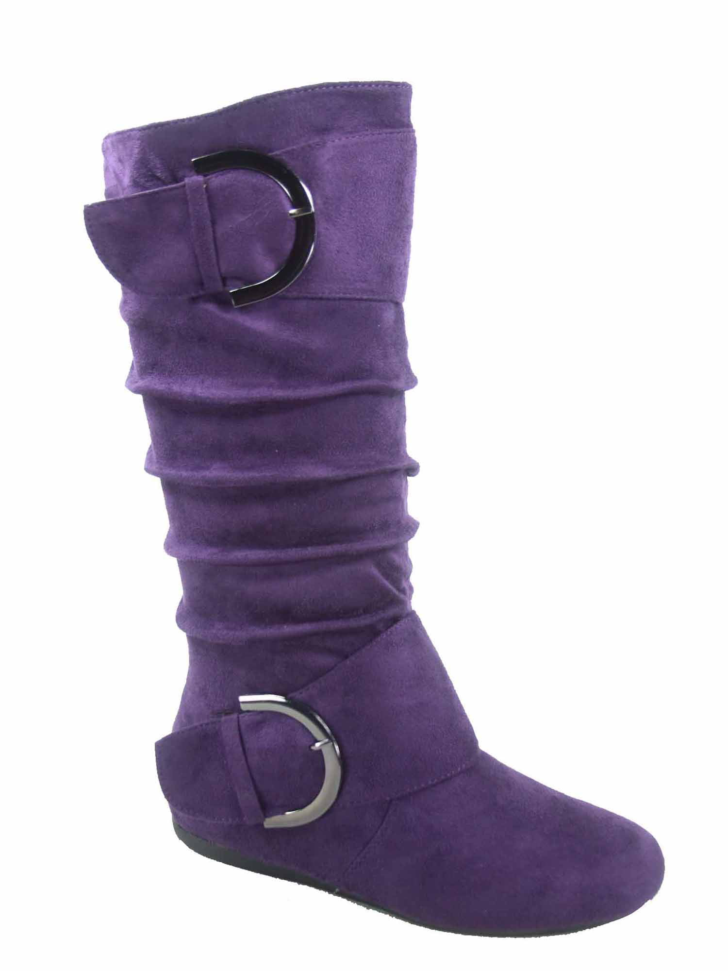 Women/'s Fashion Causal Zipper Round Toe Slouchy Flat Mid-Calf Boot Shoes NEW