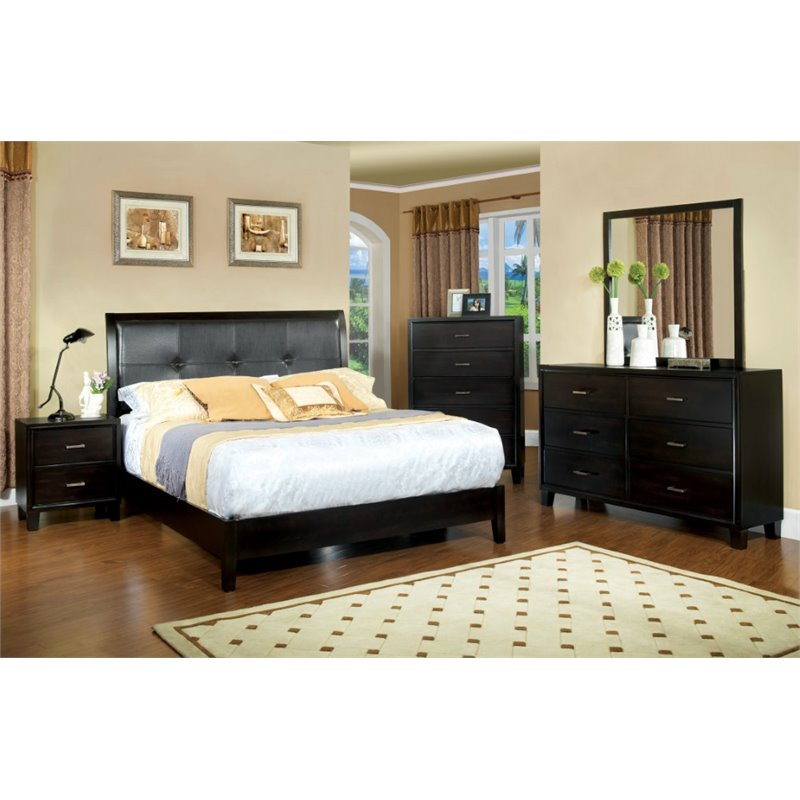 Furniture of America Muscett 4 Piece Queen Bedroom Set in Espresso by