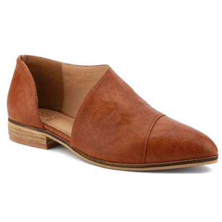 Carter-05 Women D'orsay Slip On Pointy Cap Toe Extreme Cut Out Ankle Flat Bootie - Hennessy Cognac