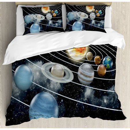 Ambesonne Galaxy Solar System All Eight Planets and the Sun Duvet Cover Set