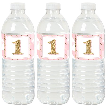 1st Birthday Girl - Fun to be One - First Birthday Party Water Bottle Sticker Labels - Set of 20 - First Birthday Party Ideas Girl