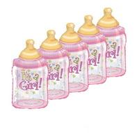 It's A Girl Baby Bottle Shape 38 Inch Mylar Balloon Pkg/25
