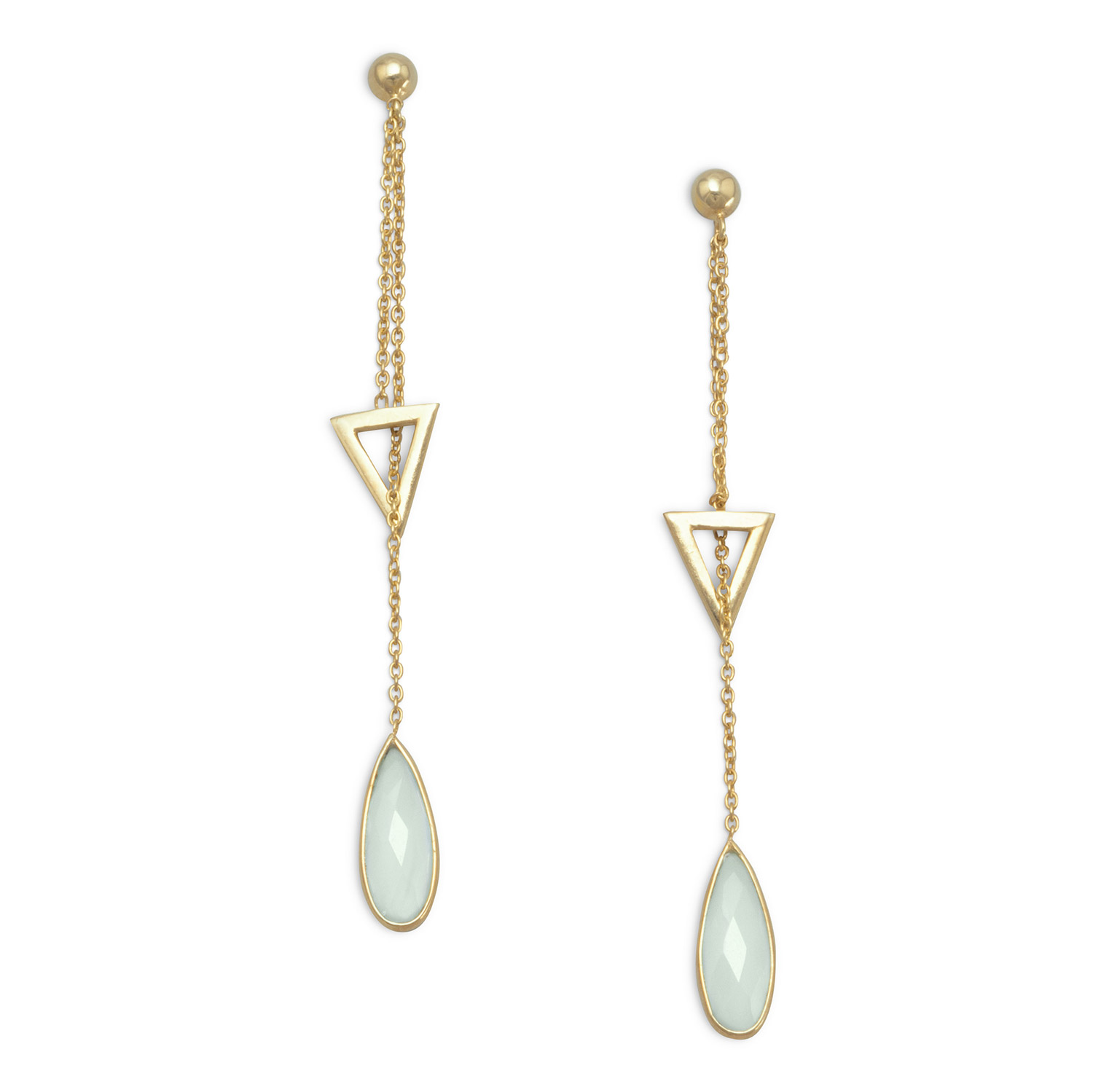 Gold-Flashed Sterling Silver Lariat Style Drop Post Back Earrings Faceted Chalcedony by