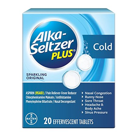 Alka Seltzer Plus Cold Formula For Nasal Congestion, Sparkling Orignal, 20