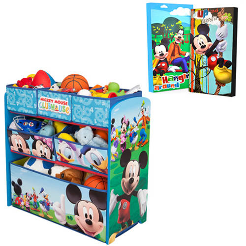 Disney Mickey Mouse Toy Organizer and Wall Art Value Bundle