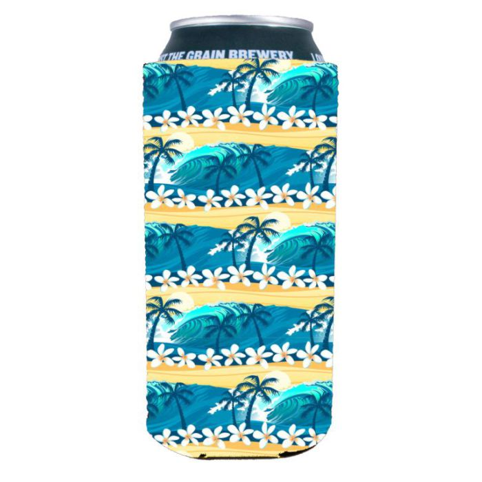 Coolie Waves Tropical Beach Pattern 16 oz. (Pint) Can Coolie
