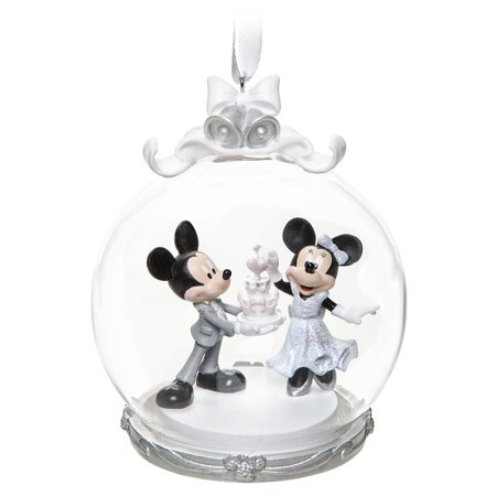 Disney Mickey and Minnie Mouse Wedding Globe Christmas Ornament New ()